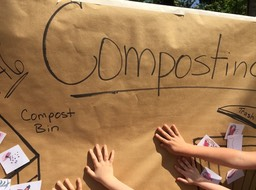 Compost poster with kids hands