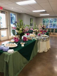 Tables with tea sandwiches and desserts