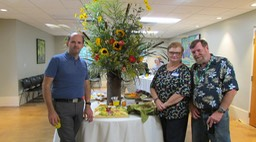 Jason's floral arrangement, with Jason, Martha and Ken
